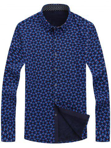 Store Button Front Flocking Printed Shirt