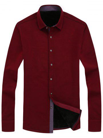 Outfits Long Sleeve Button Front Flocking Plain Shirt