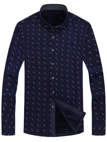 Discount Compass Needle Print Flocking Button Down Shirt