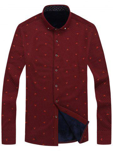 Fashion Long Sleeve Dotted Flocking Button Dwon Shirt RED 4XL