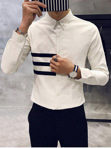 Affordable Long Sleeve Striped Flocking Button Down Shirt
