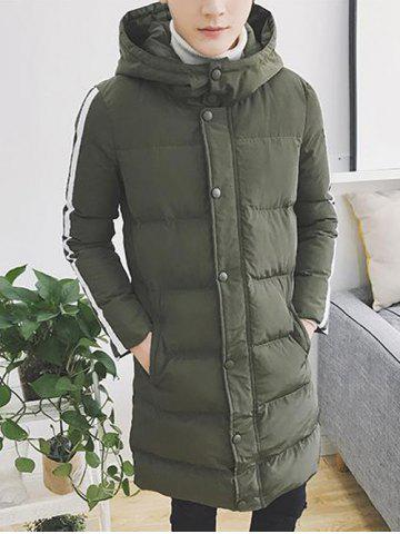 Affordable Striped Sleeve Zip Up Hooded Padded Coat