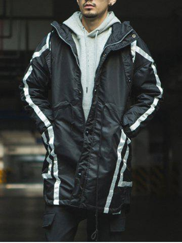 Fashion Striped Drawstring Pocket Hooded Padded Coat