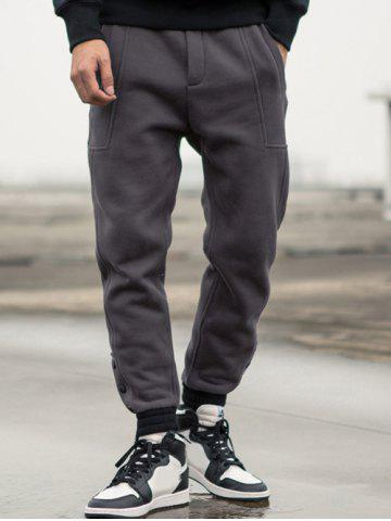 Buttoned Pocket Drawstring Jogger Pants