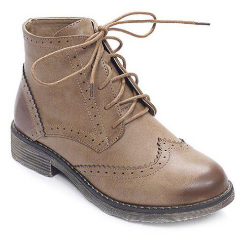Sale PU Leather Lace Up Engraving Short Boots