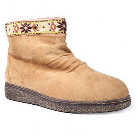 Online Ethnic Style Embroidered Insert Snow Boots LIGHT BROWN 39