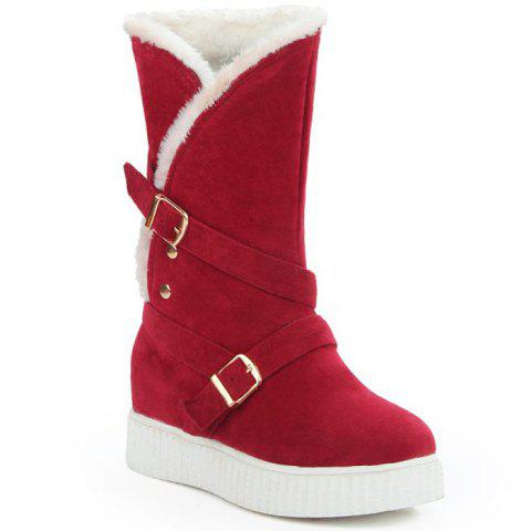 Outfit Hidden Wedge Buckle Straps Mid Calf Boots