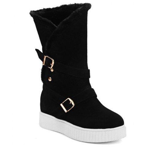 Hidden Wedge Buckle Straps Mid Calf Boots - Black - 38