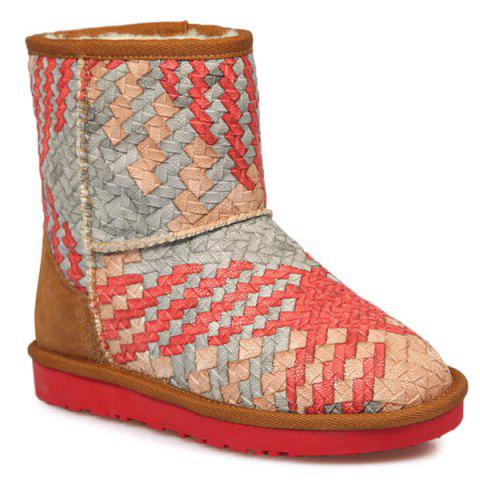 Buy PU Leather Colored Woven Snow Boots