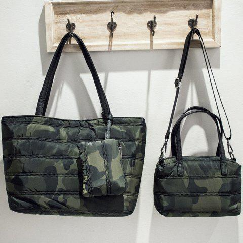 Store Magnetic Closure Camouflage Pattern Stitching Shoulder Bag