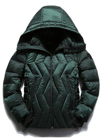Affordable Zippered Hooded Zigzag Stitch Padded Jacket