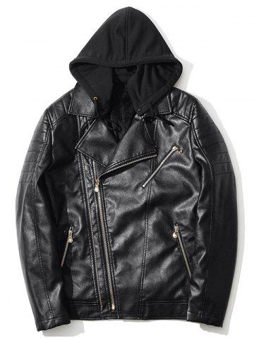 Pocket Asymmetrical Zip Up Hooded PU Leather Jacket