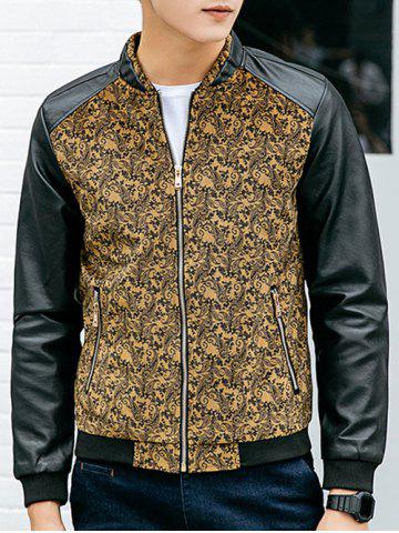 Latest Paisley Print Zippered PU Leather Insert Jacket