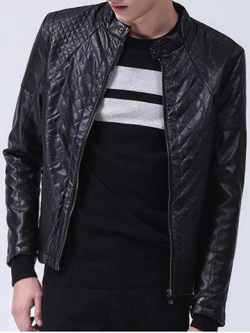 Cheap Zippered Stand Collar Quilted PU Leather Jacket
