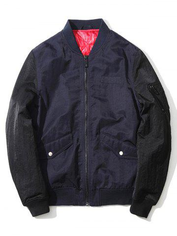Buy Pocket Stand Collar Zip Up Two Tone Jacket