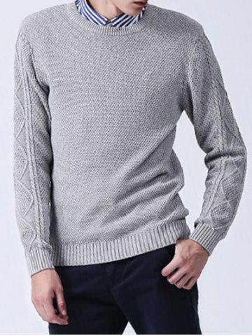 Crew Neck Knitted Texture Sweater - GRAY 3XL