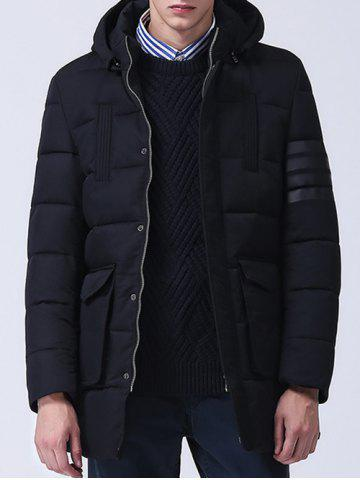 Shops Pocket Zippered Snap Front Hooded Padded Coat