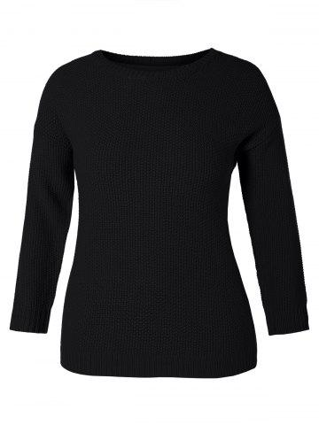 Bowknot Embellished Plus Size Drop Shoulder Sweater