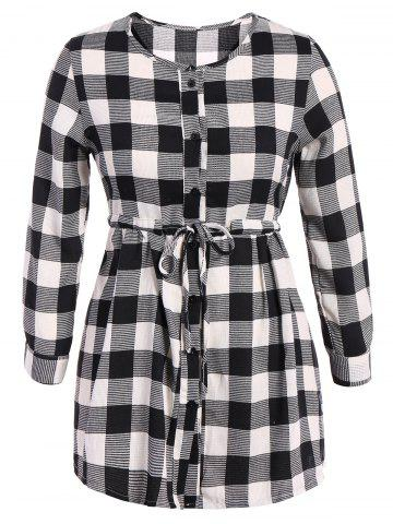 Store Plaid Button Up Long Sleeve Shirt Dress - L PLAID Mobile