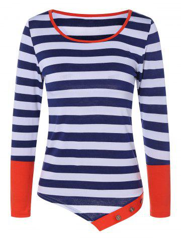 Chic Contrast Striped Tee RED XL