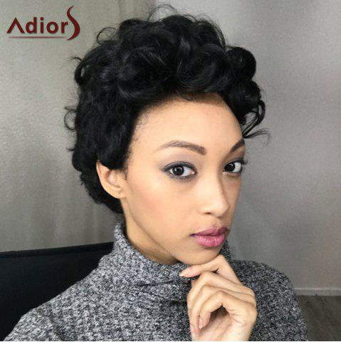 Shop Adiors Short Fluffy Curly Side Parting Synthetic Wig BLACK
