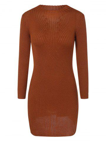 Outfit Ribbed Bodycon Mini Jumper Dress LIGHT BROWN ONE SIZE