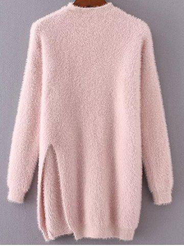 Shops Long Mock Neck Slit Fuzzy Pullover Sweater PINK ONE SIZE