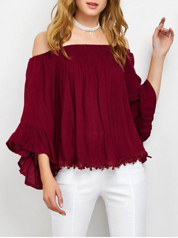 Discount Off The Shoulder Smocked Loose Blouse