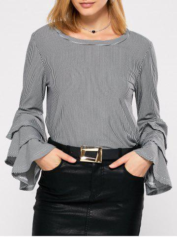 Store Tiered Ruffle Striped Blouse