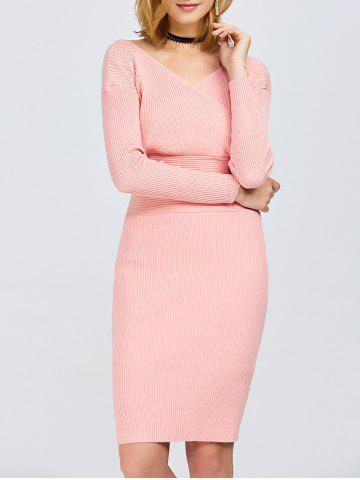 Fashion Surplice Ribbed Knit Fitted Jumper Dress