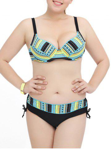 Plus Size Push Up Tribal Striped Bikini Set - Blue And Yellow - Xl