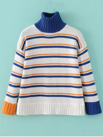 Affordable Chunky Turtleneck Striped Sweater
