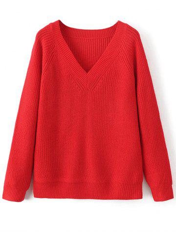 Store V Neck Casual Loose Sweater RED ONE SIZE