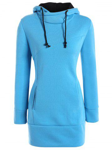 High Neck Hoodie - Blue - L