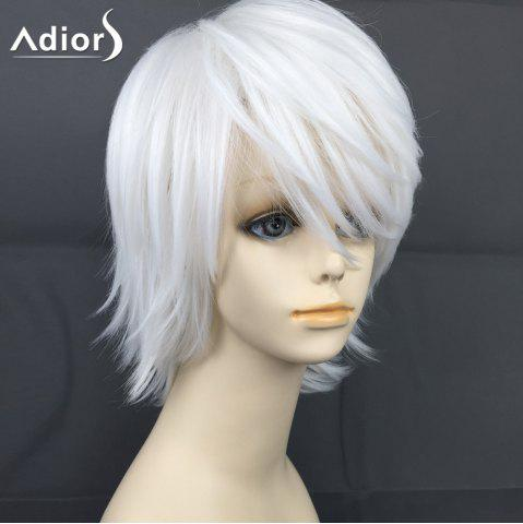 Store Adiors Short Layered Oblique Bang Straight Christmas Party Synthetic Wig WHITE
