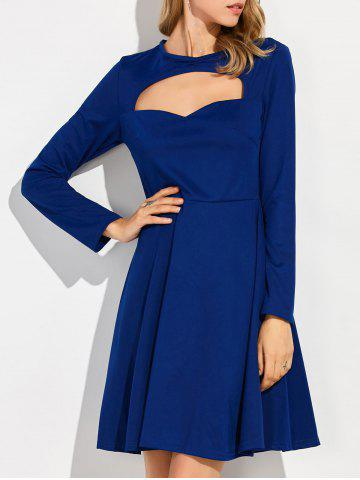 Robe manches longues col rond Bleu S