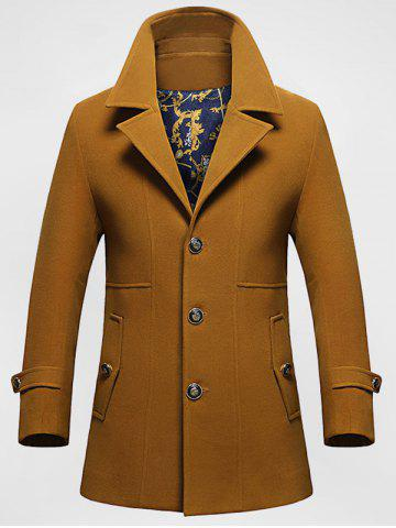 Pocket Button Tab Cuff Single Breasted Coat - Camel - L