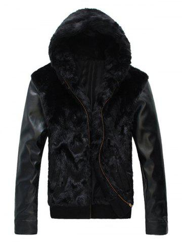 Chic PU Insert Zippered Hooded Faux Fur Coat