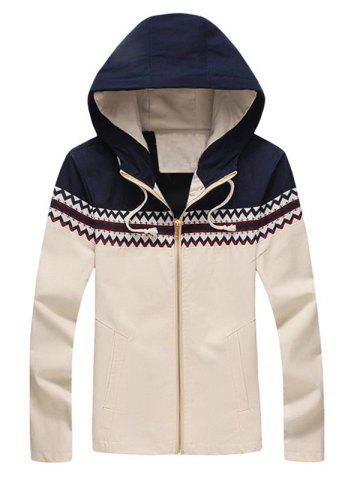 Cheap Zigzag Pattern Panel Hooded Zip Up Jacket