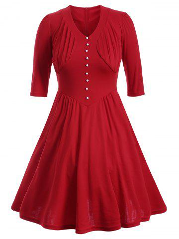 Unique Buttoned Half Sleeves Ruched Flare Dress RED 2XL