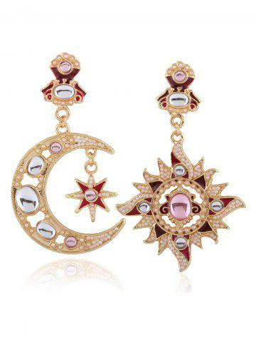 Fancy Asymmetric Crescent Sun Faux Pearl Earrings