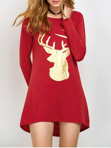 Sale Fawn Patterned Christmas Long Sleeve T-Shirt RED XL