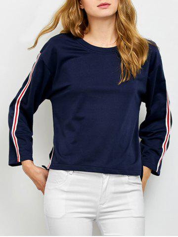 Store Crew Neck Side Slit Tee with Stripe Insert