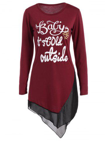 Unique Asymmetrical Graphic Layered Longline Tee WINE RED XL