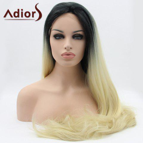 Best Adiors Hair Long Straight Slightly Curled Lace Front Synthetic Wig - COLORMIX  Mobile