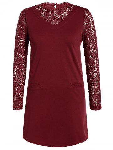 Hot Lace Panel Slimming Dress - 2XL BURGUNDY Mobile