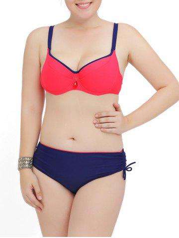 Outfits Plus Size Color Block Push Up Bikini Set BLUE AND RED 4XL