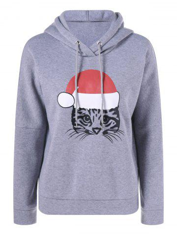 New Kitten Print Christmas Hoodie GRAY XL