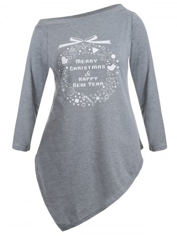 Fancy Christmas Graphic Longline Tee - 4XL GRAY Mobile