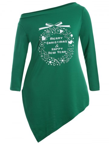 Outfits Christmas Graphic Longline Tee - 3XL GREEN Mobile